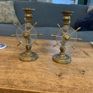 solid brass shift wheel candle sticks